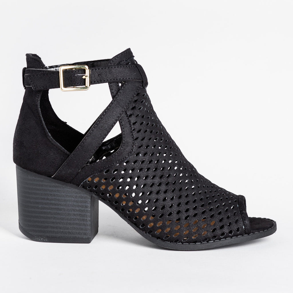 Womens Strappy Mesh Open Toe Booties - Qupid Shoes - Black / 5