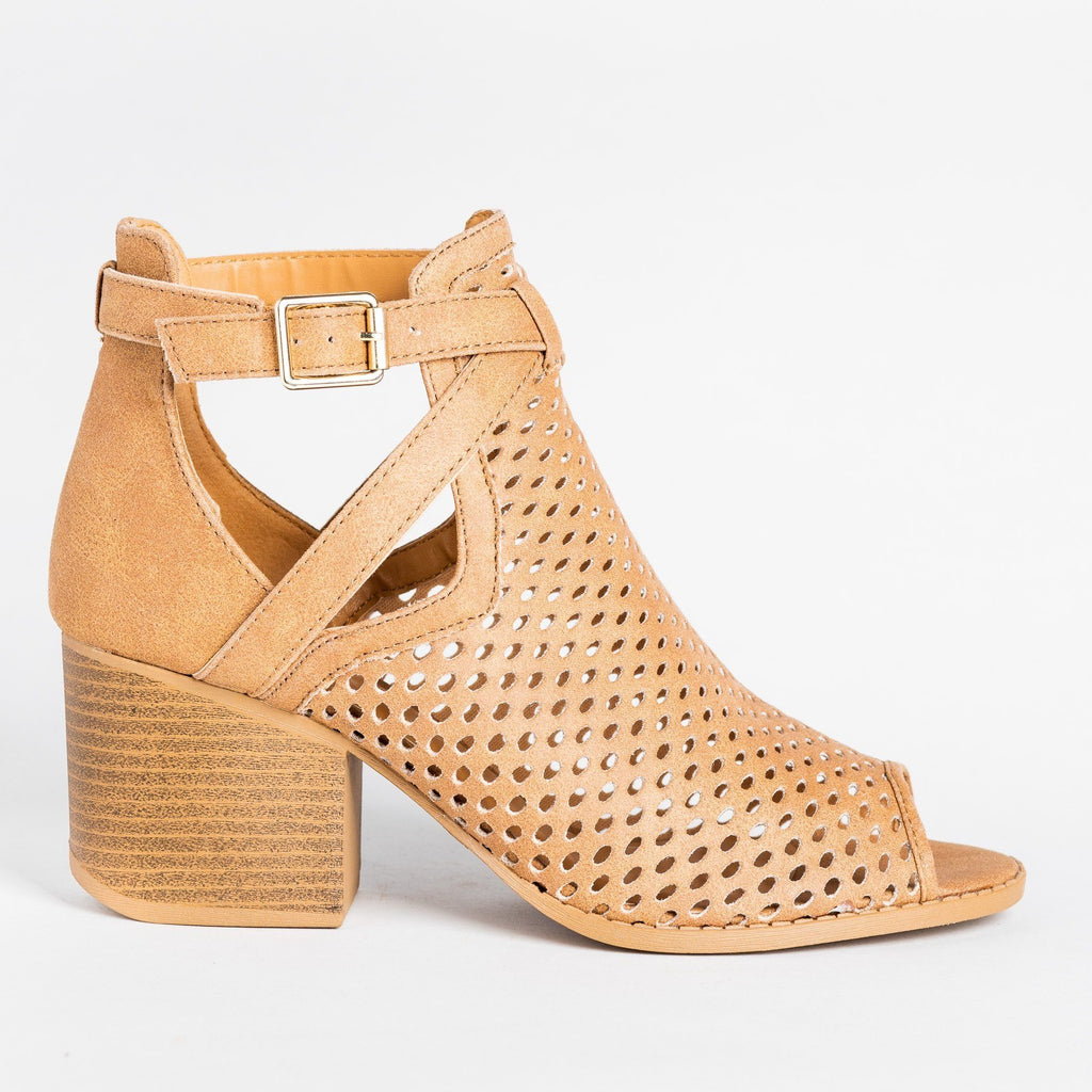 Womens Strappy Mesh Open Toe Booties - Qupid Shoes - Camel / 5