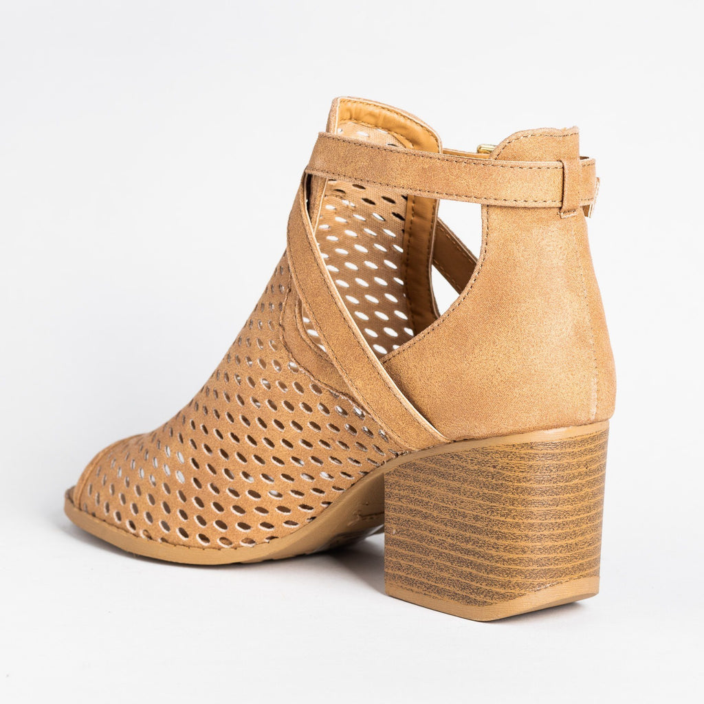 Womens Strappy Mesh Open Toe Booties - Qupid Shoes