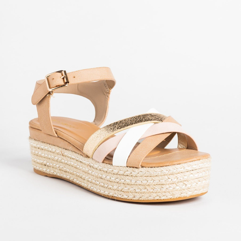 Womens Strappy Metallic Espadrille Flatform Wedges - Bamboo Shoes - Blush / 5