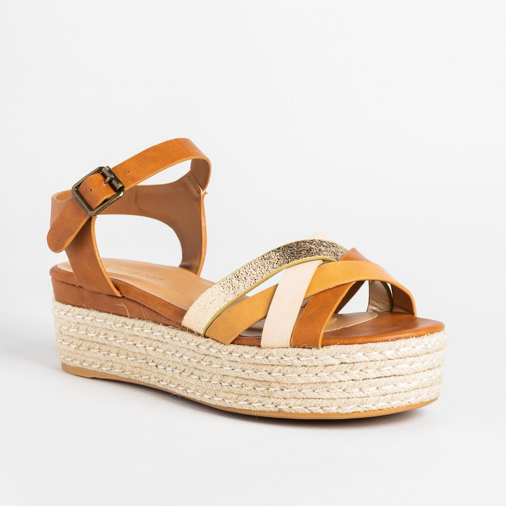 Womens Strappy Metallic Espadrille Flatform Wedges - Bamboo Shoes - Tan / 5