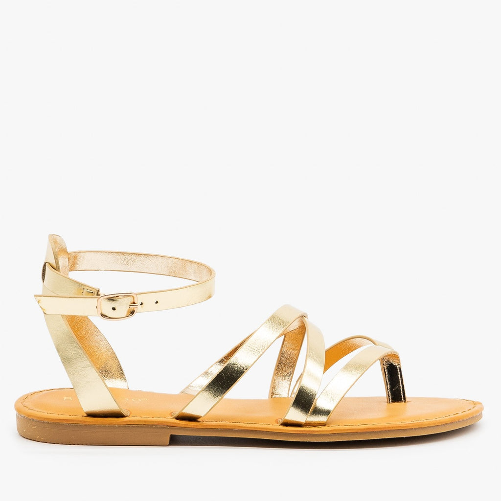 Womens Strappy Metallic Gold Summer Sandals - Bamboo Shoes - Gold / 5