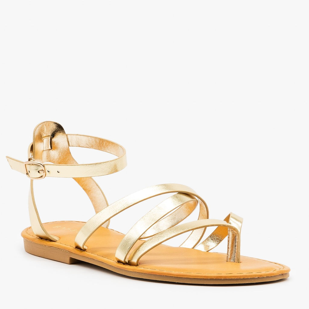 Womens Strappy Metallic Gold Summer Sandals - Bamboo Shoes