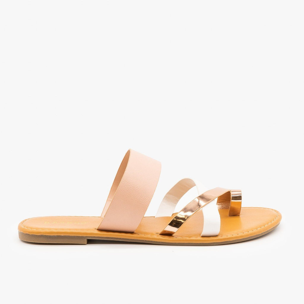 Womens Strappy Multi-Tone Sandals - Bamboo Shoes - Blush Multi / 5