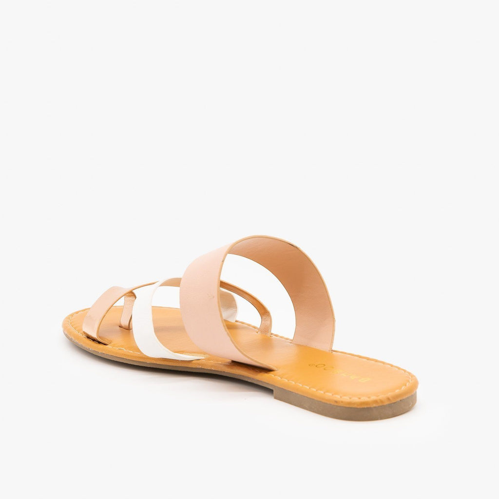 Womens Strappy Multi-Tone Sandals - Bamboo Shoes