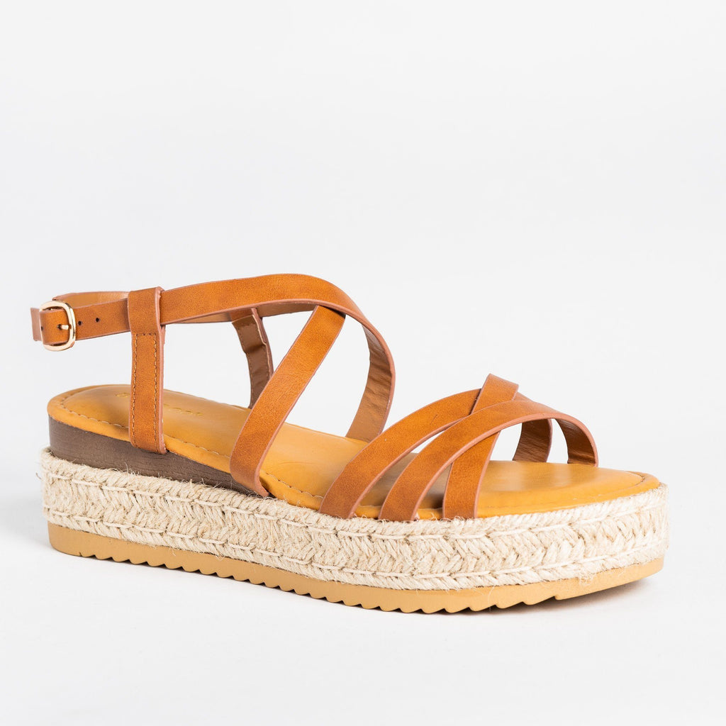 Womens Strappy Multi-Toned Espadrille Flatforms - Bamboo Shoes - Tan / 5