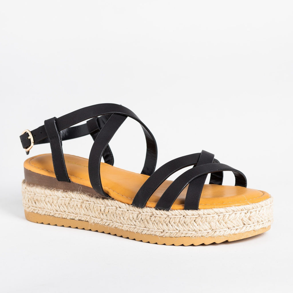 Womens Strappy Multi-Toned Espadrille Flatforms - Bamboo Shoes - Black / 5