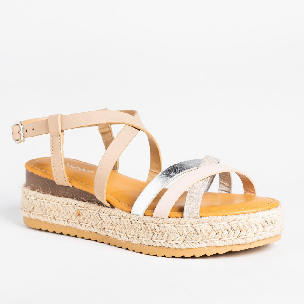 Womens Strappy Multi-Toned Espadrille Flatforms - Bamboo Shoes - Blush / 5