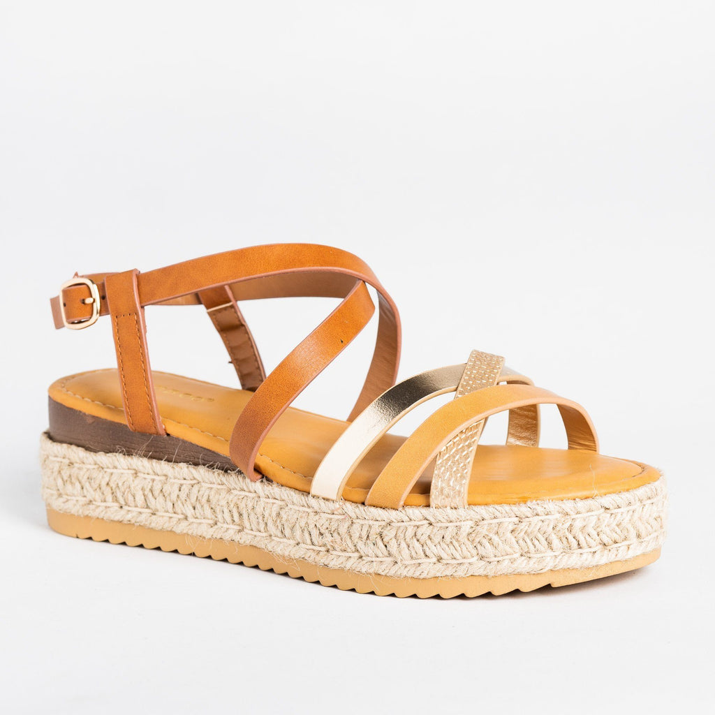 Womens Strappy Multi-Toned Espadrille Flatforms - Bamboo Shoes - Natural / 5