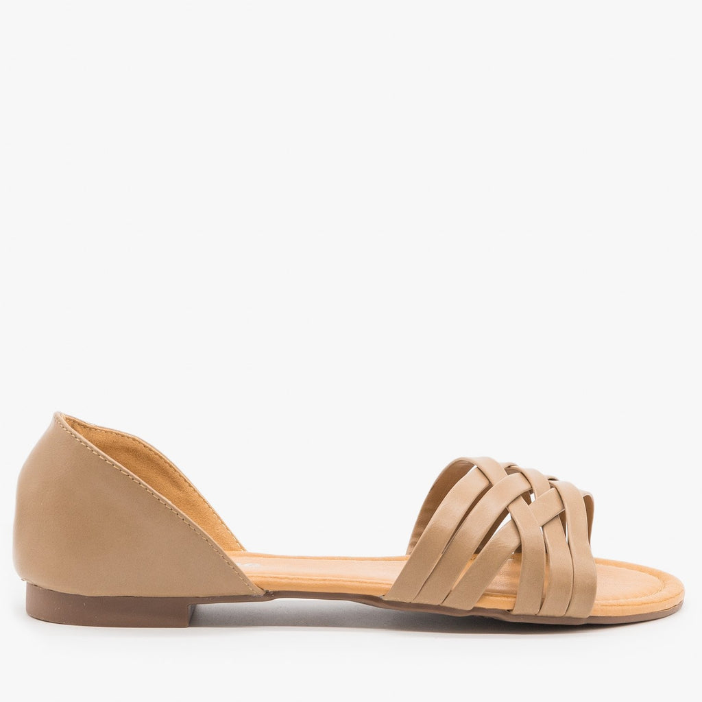 Womens Strappy Open Toe Flats - Weeboo - Taupe / 5