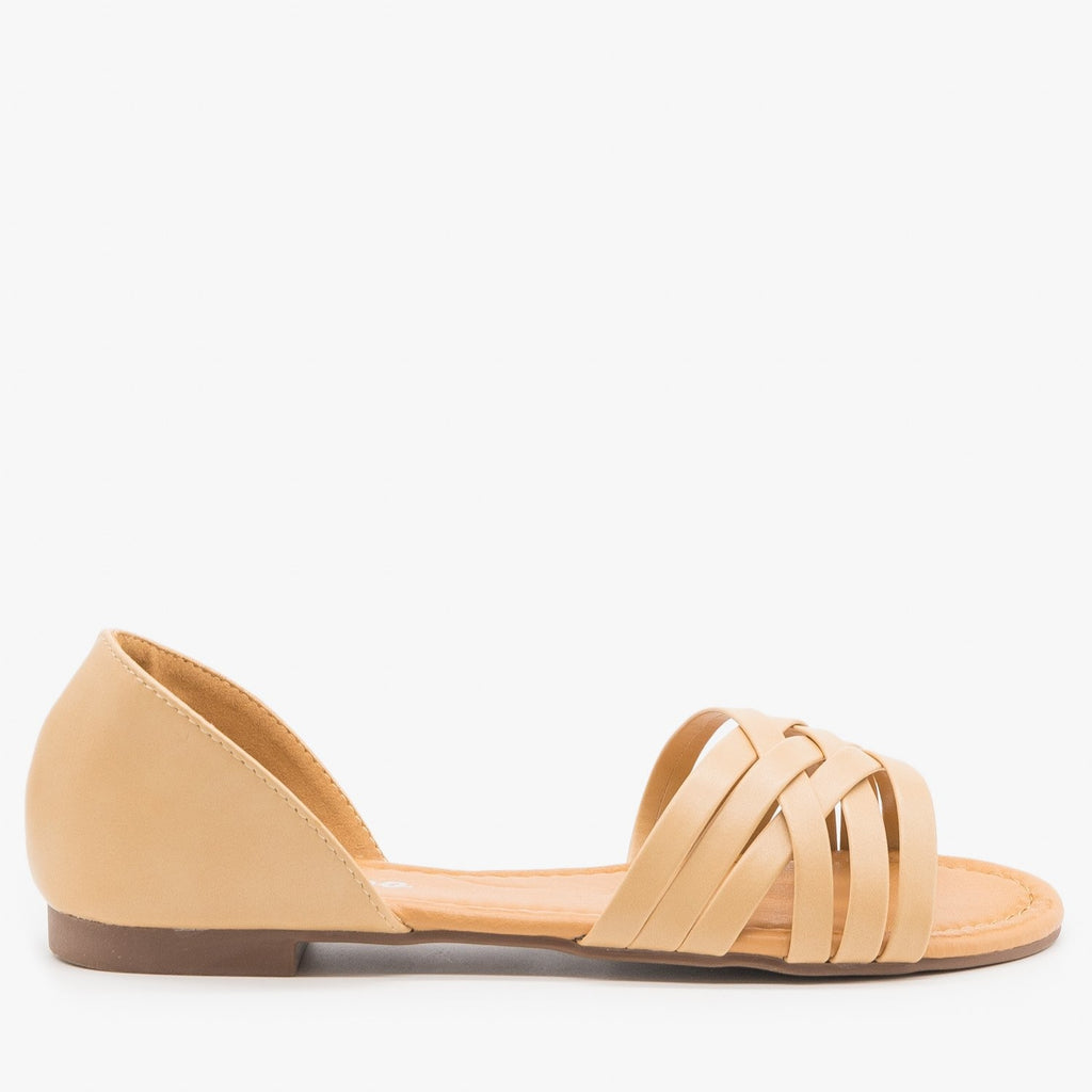 Womens Strappy Open Toe Flats - Weeboo - Beige / 5