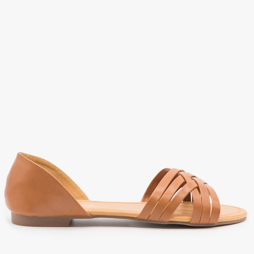 Womens Strappy Open Toe Flats - Weeboo - Tan / 5