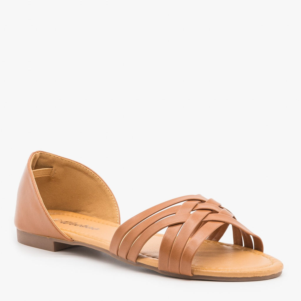 Womens Strappy Open Toe Flats - Weeboo
