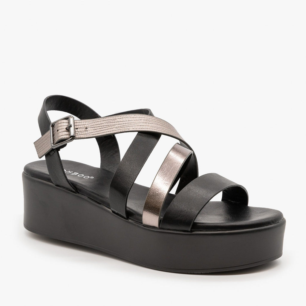 Womens Strappy Platform Sandal - Bamboo Shoes - Black / 5