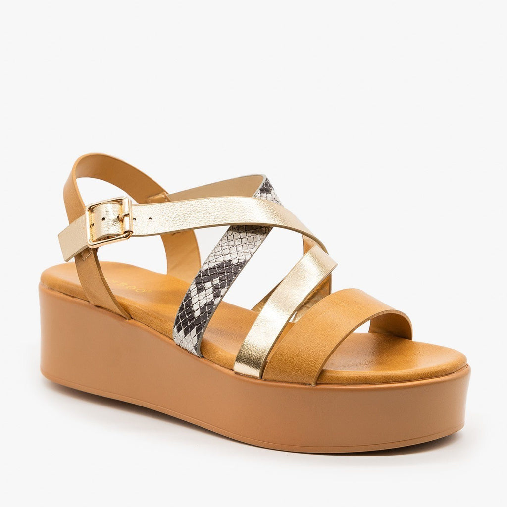 Womens Strappy Platform Sandal - Bamboo Shoes - Natural / 5