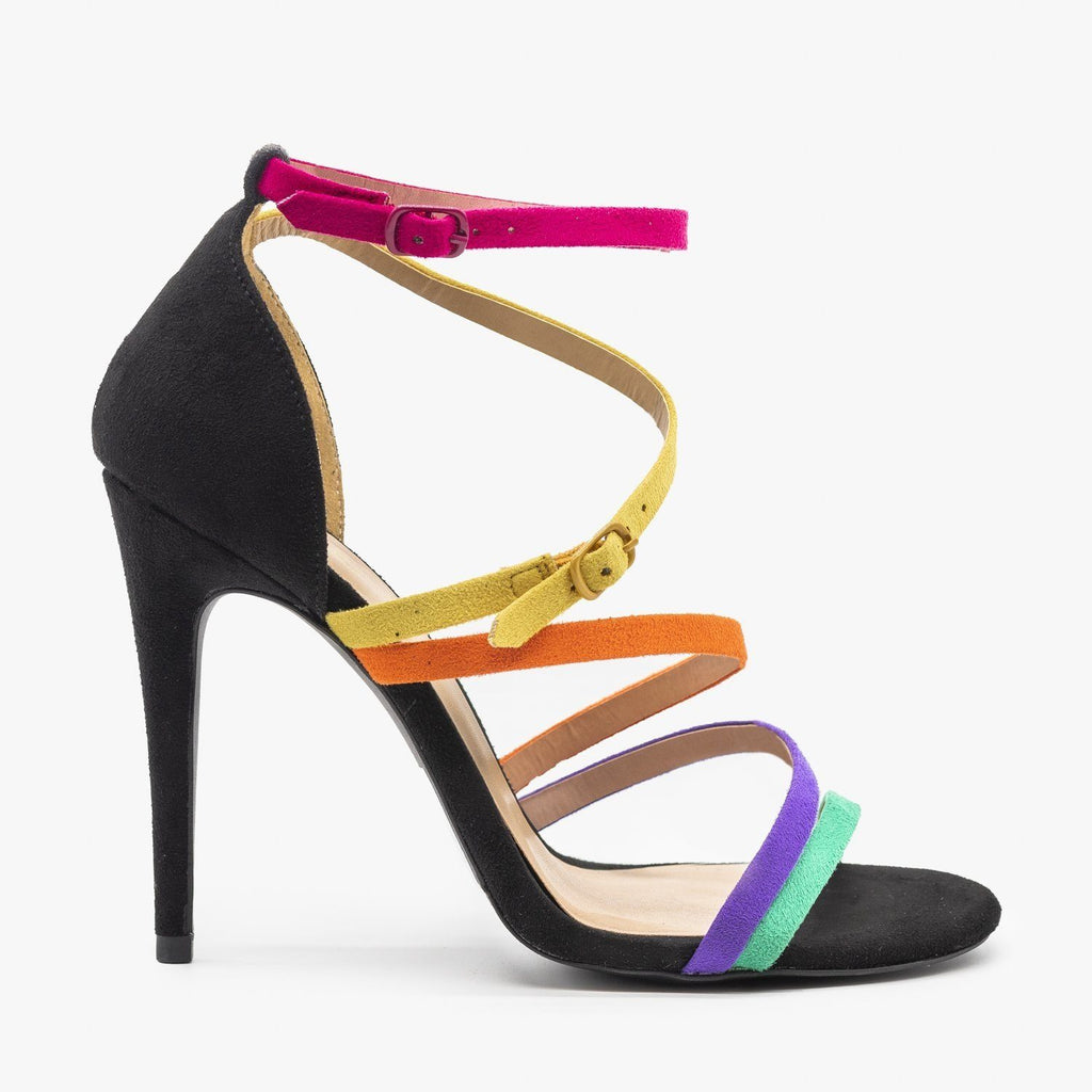Womens Strappy Rainbow Heels - Qupid Shoes - Black Multi / 5