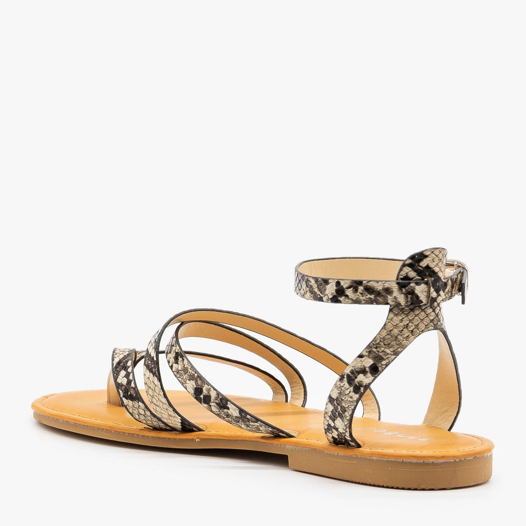 Womens Strappy Snake Print Summer Sandals - Bamboo Shoes