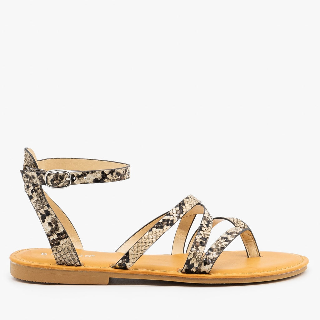 Womens Strappy Snake Print Summer Sandals - Bamboo Shoes - Beige Snake / 5