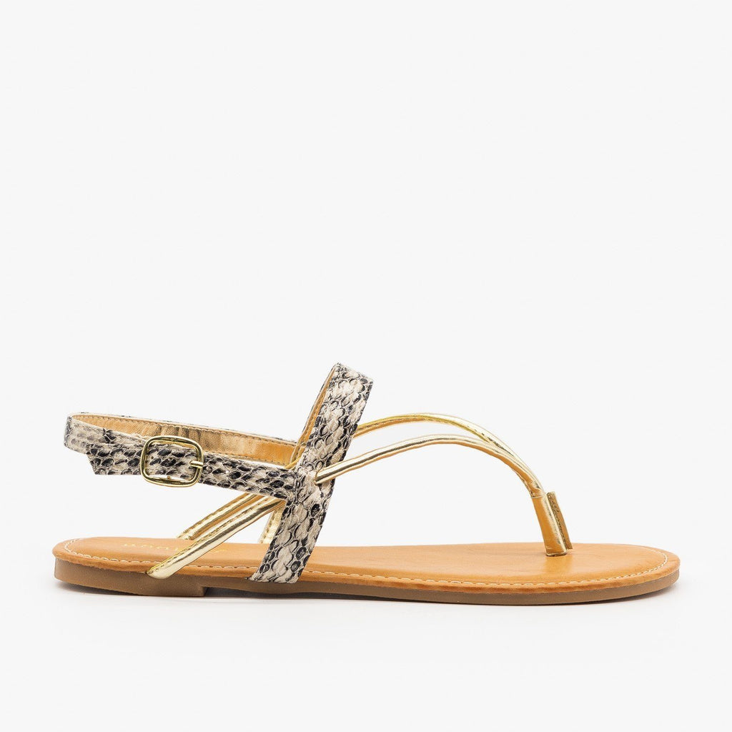 Womens Strappy Snakeskin Metallic Sandals - Bamboo Shoes