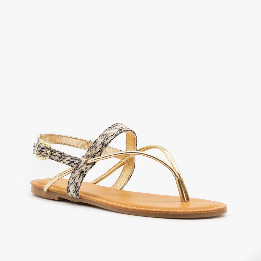 Womens Strappy Snakeskin Metallic Sandals - Bamboo Shoes - Natural / 5