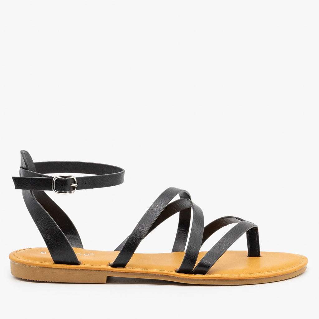 Womens Strappy Summer Sandals - Bamboo Shoes - Black / 5