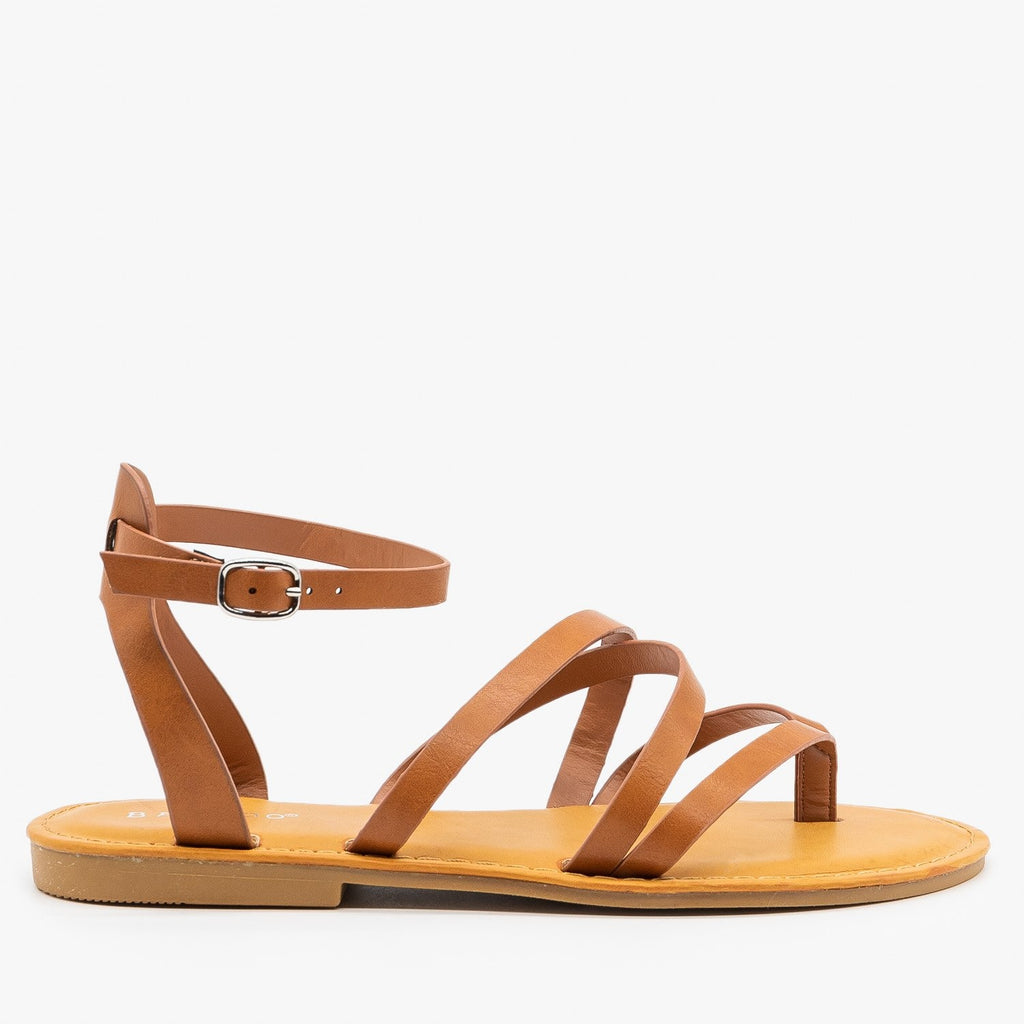 Womens Strappy Summer Sandals - Bamboo Shoes - Tan / 5