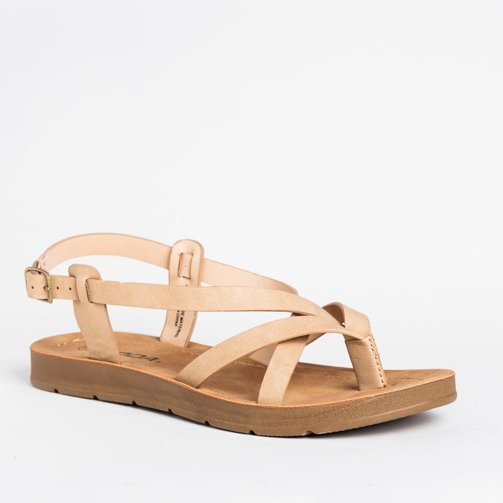 Womens Strappy Thong-Style Sandals - Soda Shoes - Camel / 5