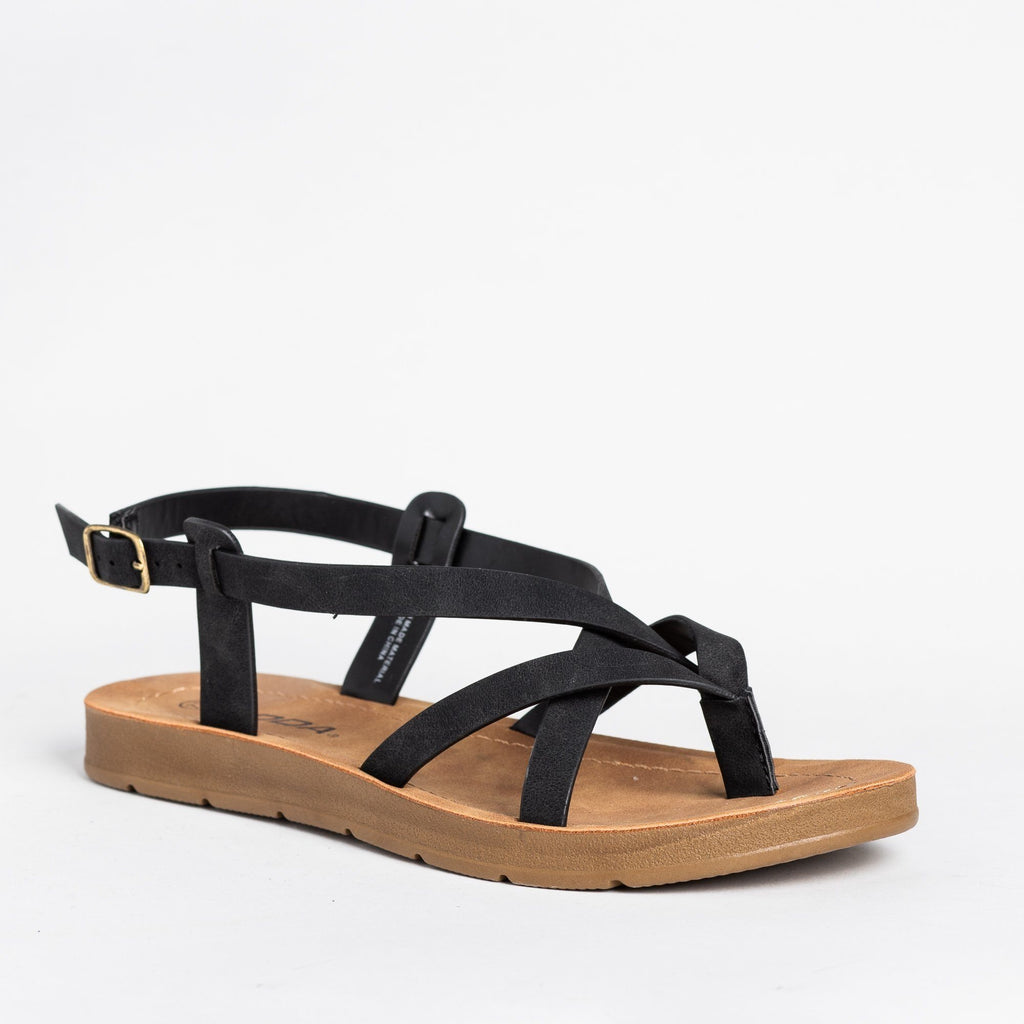Womens Strappy Thong-Style Sandals - Soda Shoes - Black / 5