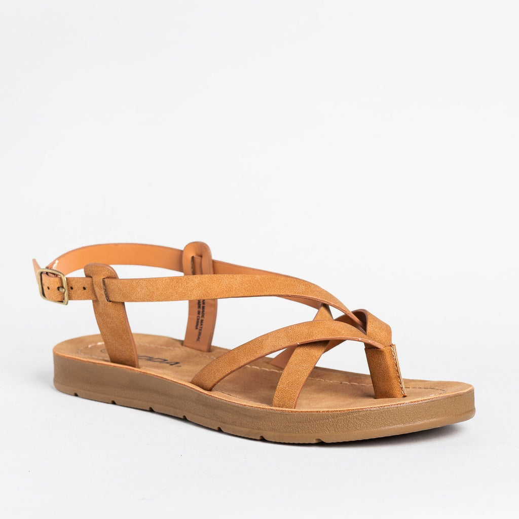 Womens Strappy Thong-Style Sandals - Soda Shoes - Tan / 5