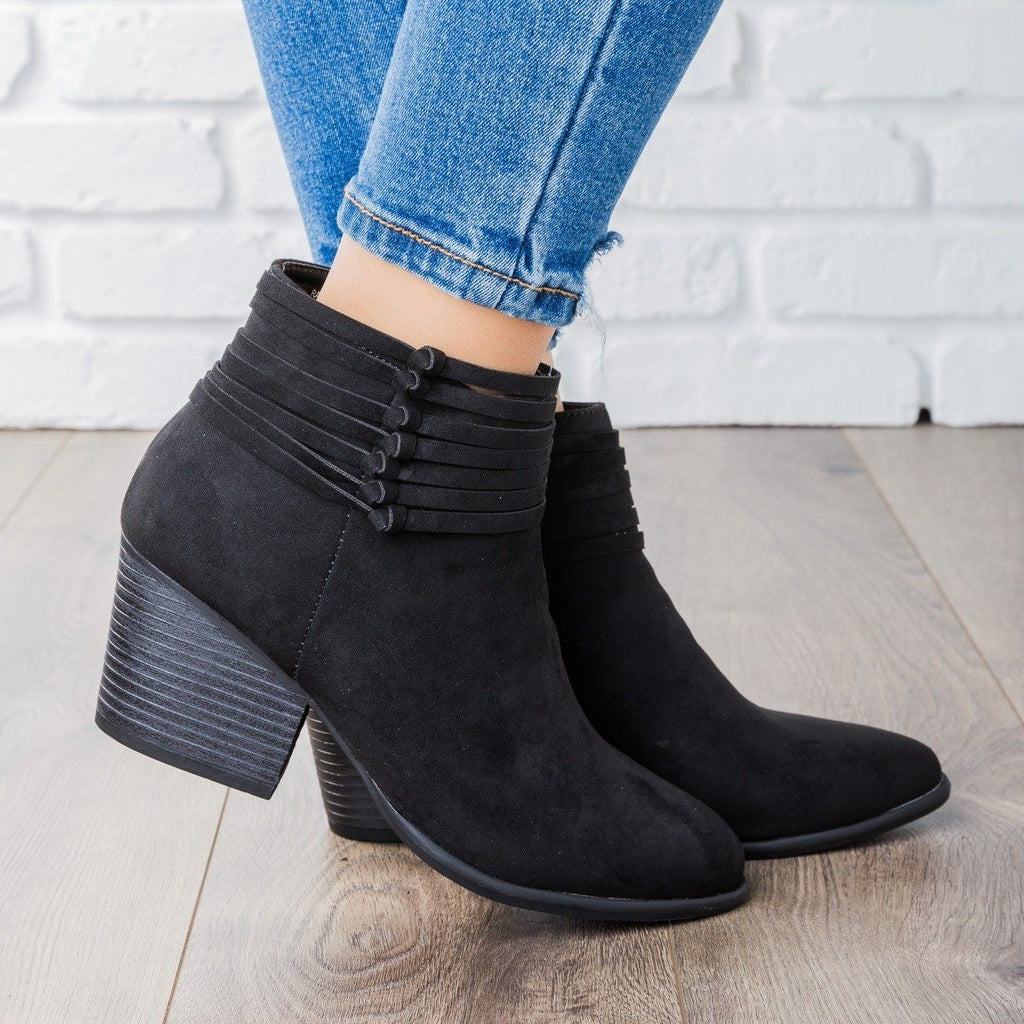 Womens Strappy Tied Ankle Bootie - Bamboo Shoes