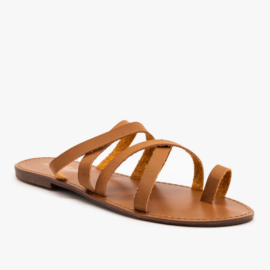 Womens Strappy Toe Hold Sandals - Fashion Focus - Cognac / 5