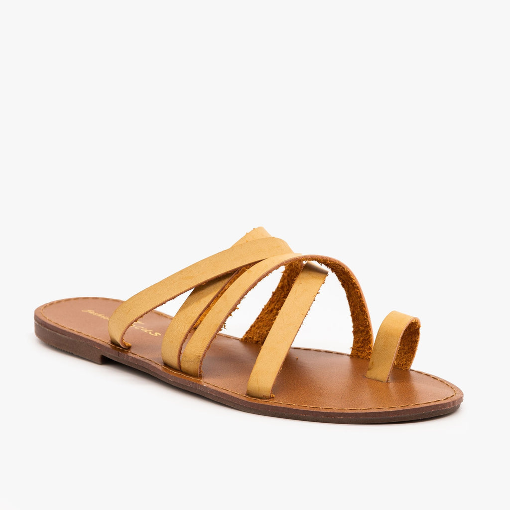 Womens Strappy Toe Hold Sandals - Fashion Focus - Tan / 5