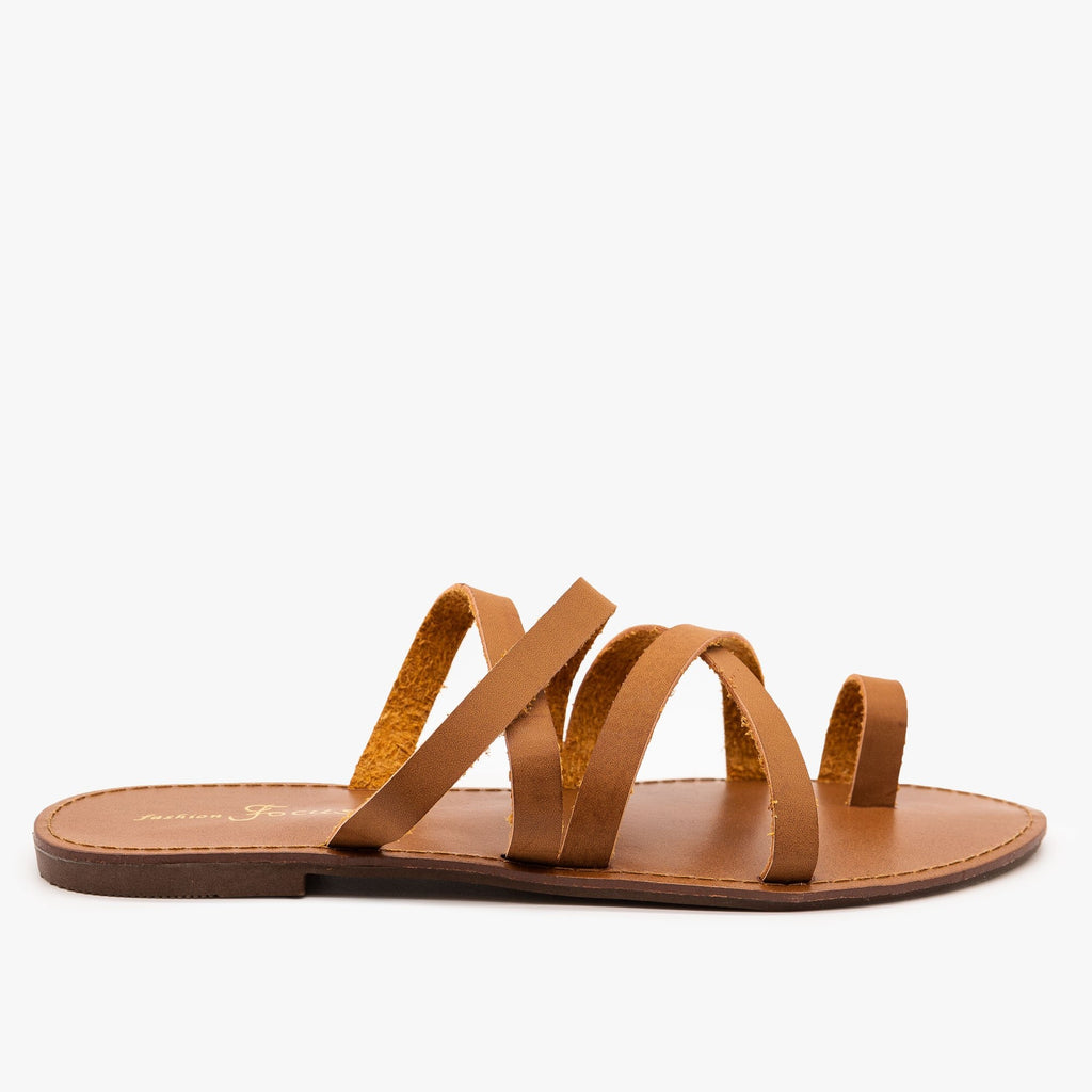 Womens Strappy Toe Hold Sandals - Fashion Focus