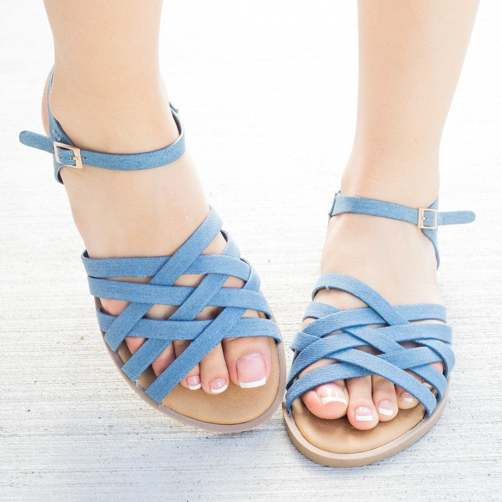 Womens Strappy Woven Ankle Strap Sandals - Bamboo Shoes - Blue Denim / 5
