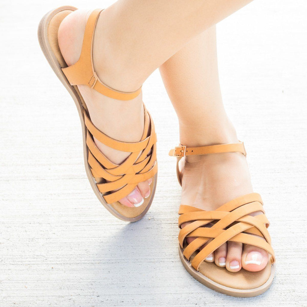 Womens Strappy Woven Ankle Strap Sandals - Bamboo Shoes
