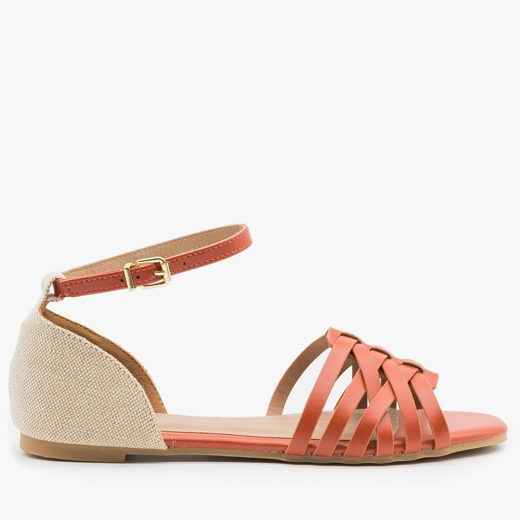 Women's Strappy Woven Ankle Strap Sandals - Qupid Shoes - Brick / 5