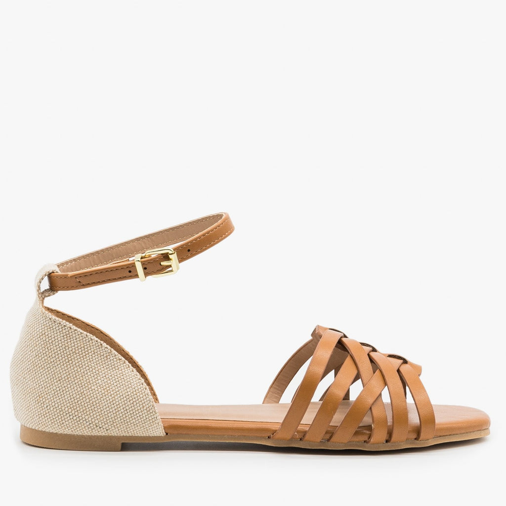 Women's Strappy Woven Ankle Strap Sandals - Qupid Shoes - Camel / 5