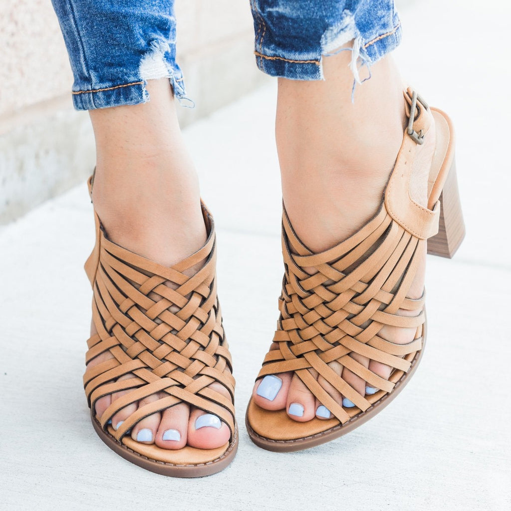 Womens Strappy Woven Chunky Heel - Soda Shoes - Tan / 5