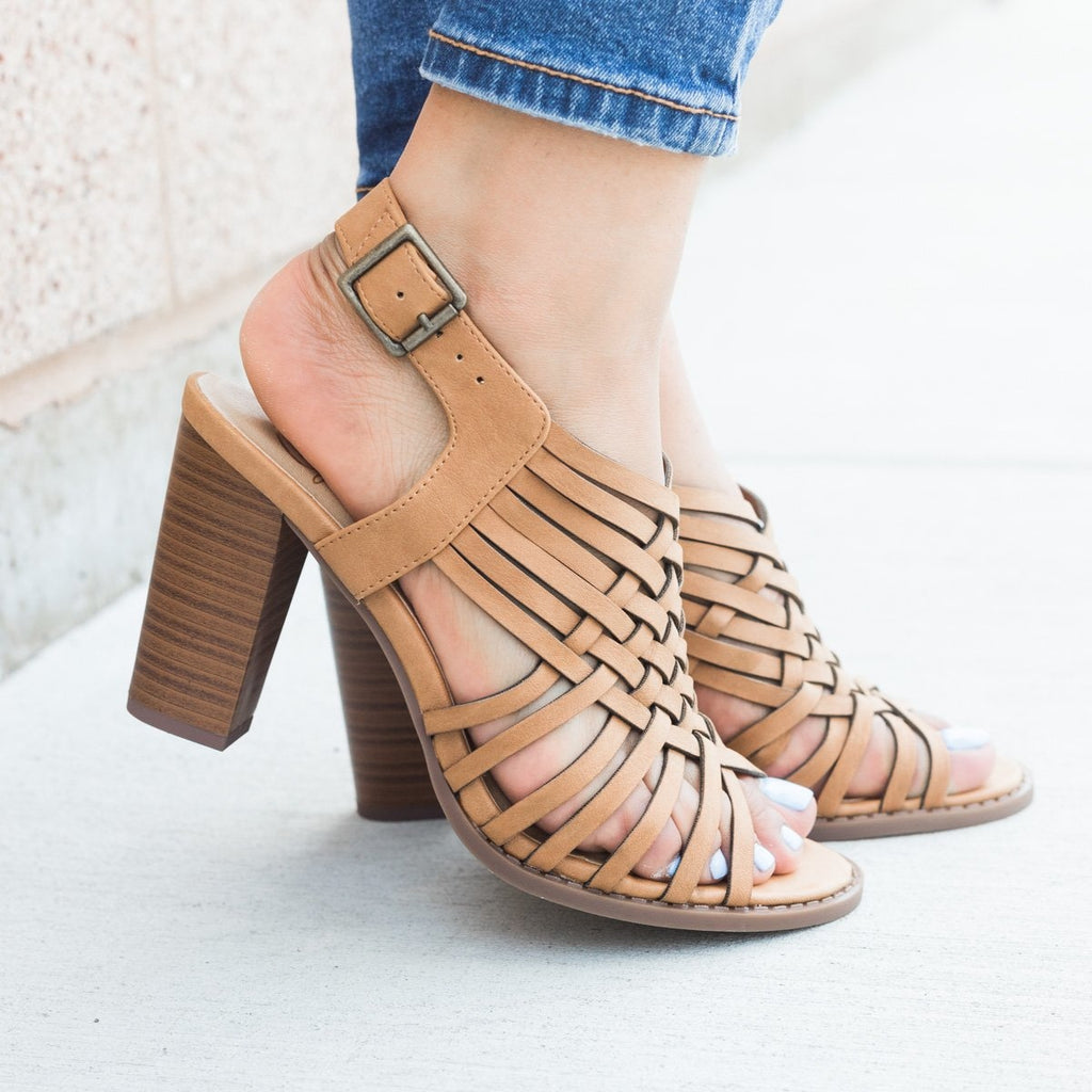 Womens Strappy Woven Chunky Heel - Soda Shoes