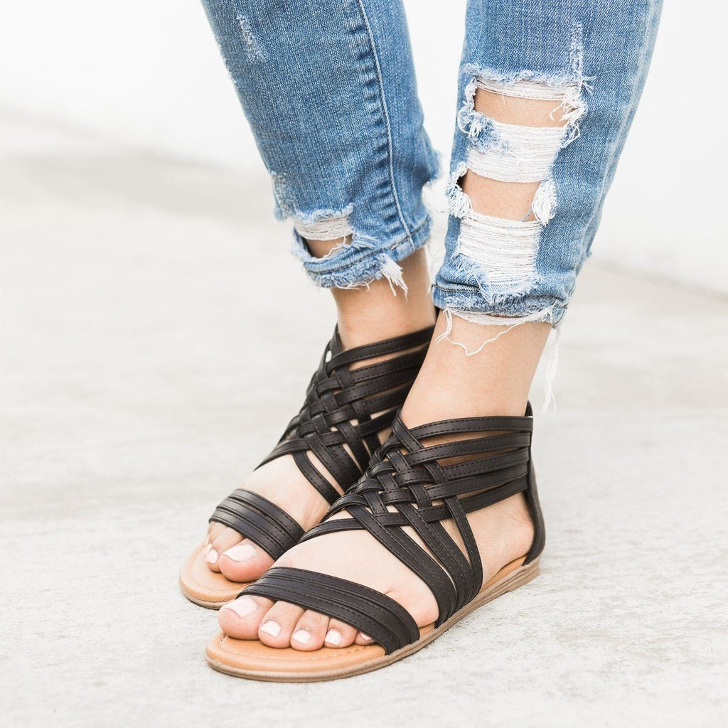 Womens Strappy Woven Sandals - Qupid Shoes