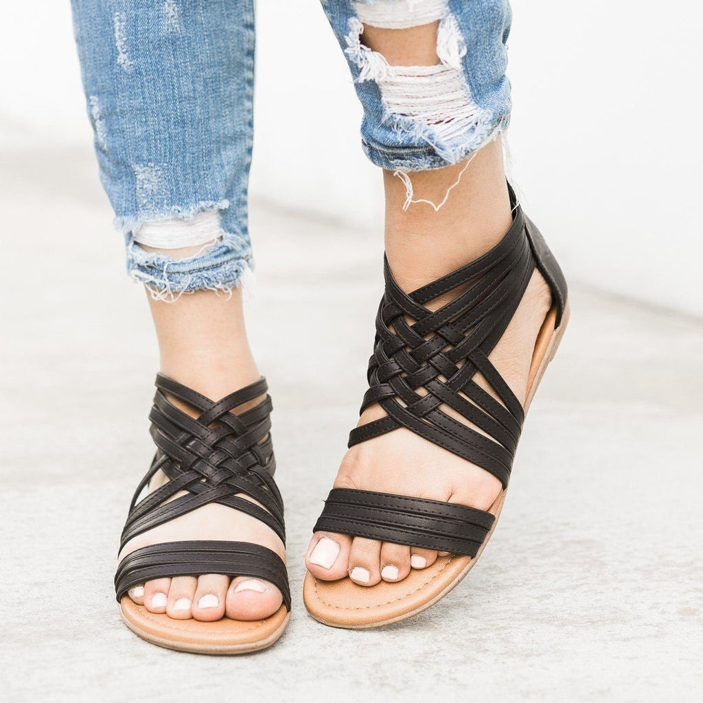 Womens Strappy Woven Sandals - Qupid Shoes - Black / 5