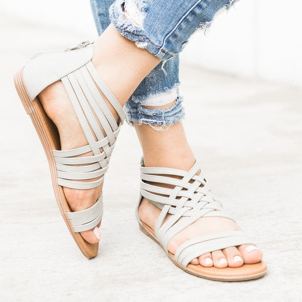 Womens Strappy Woven Sandals - Qupid Shoes - Light Grey / 10
