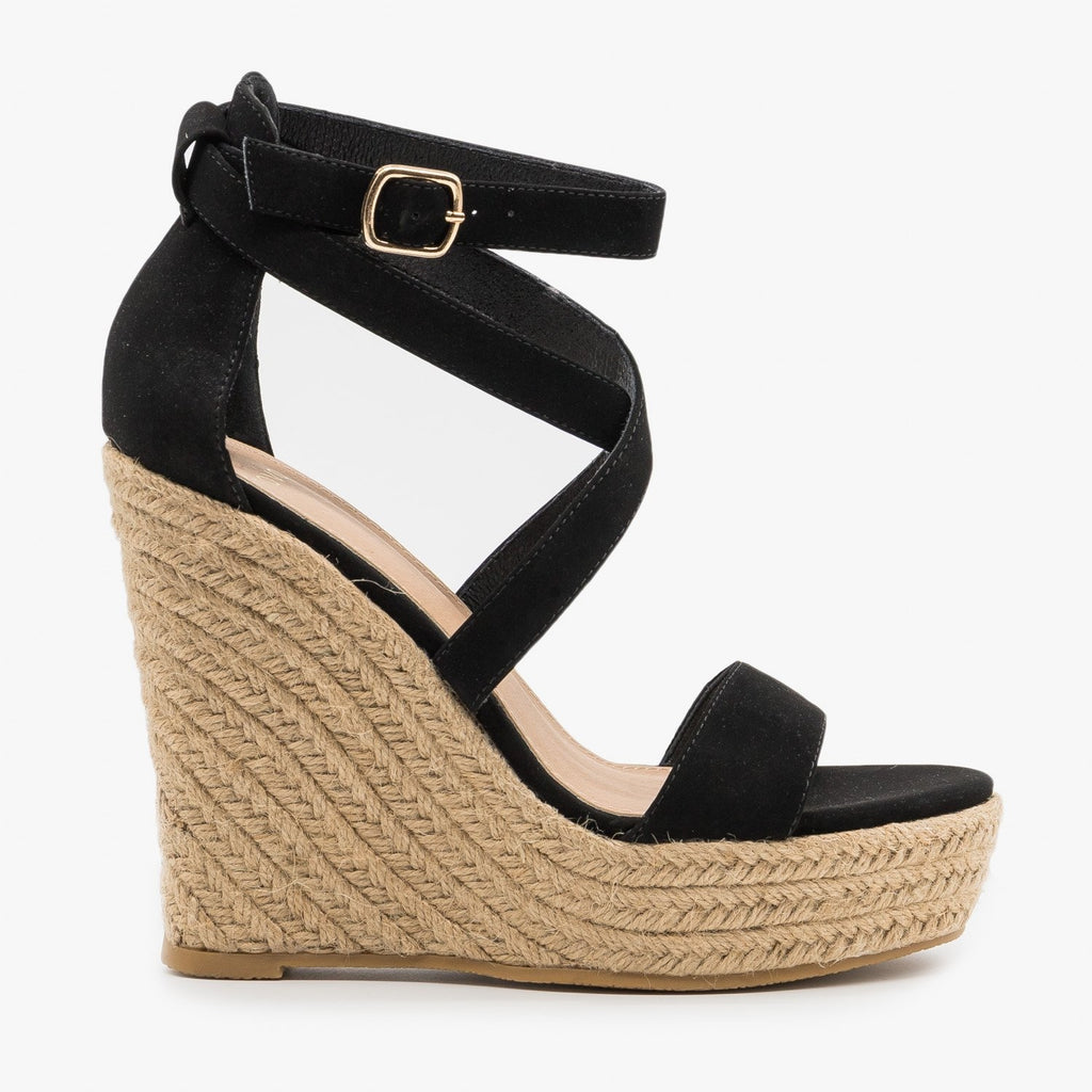 Women's Strappy Wraparound Espadrille Wedges - Novo Shoes - Black / 5