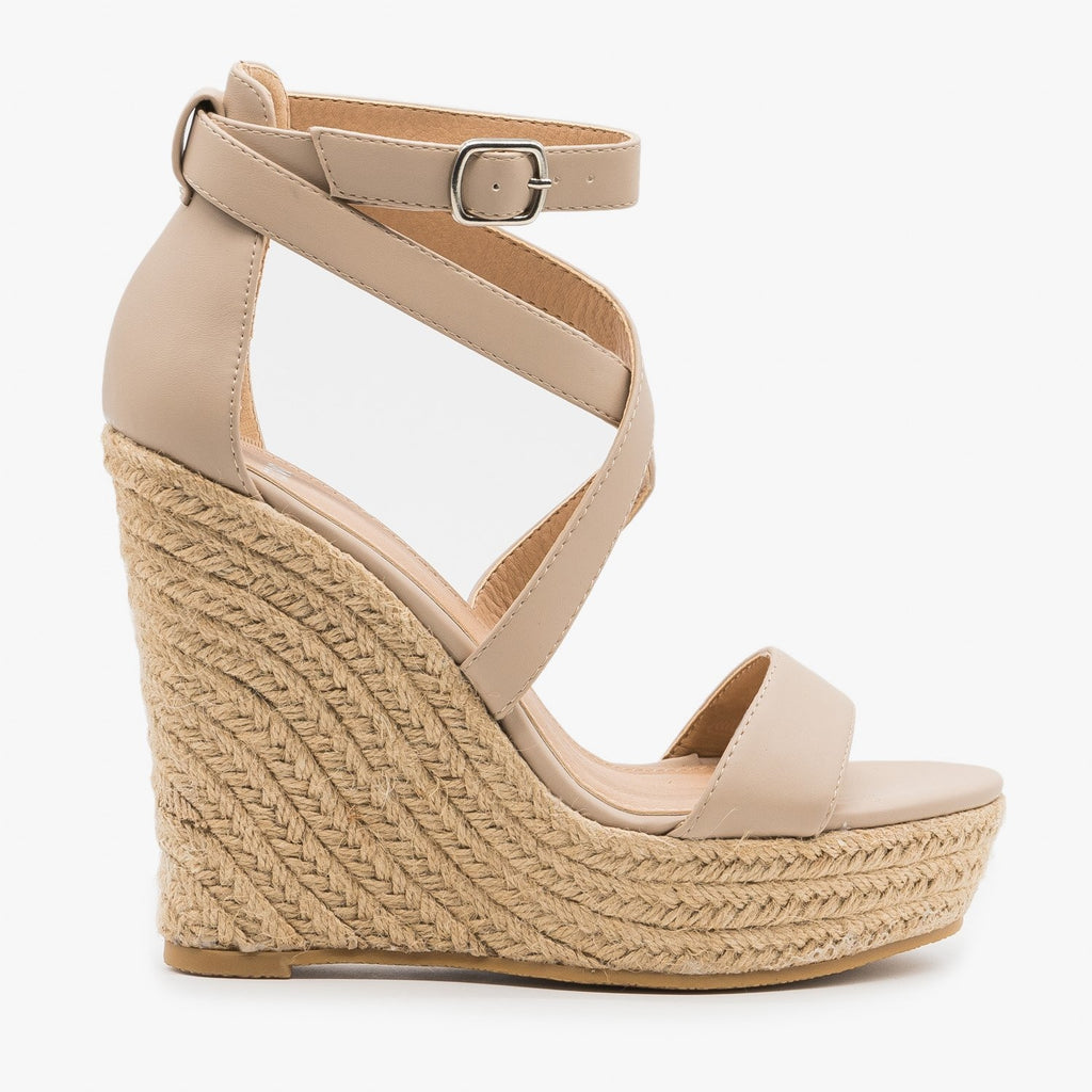 Women's Strappy Wraparound Espadrille Wedges - Novo Shoes - Nude / 5