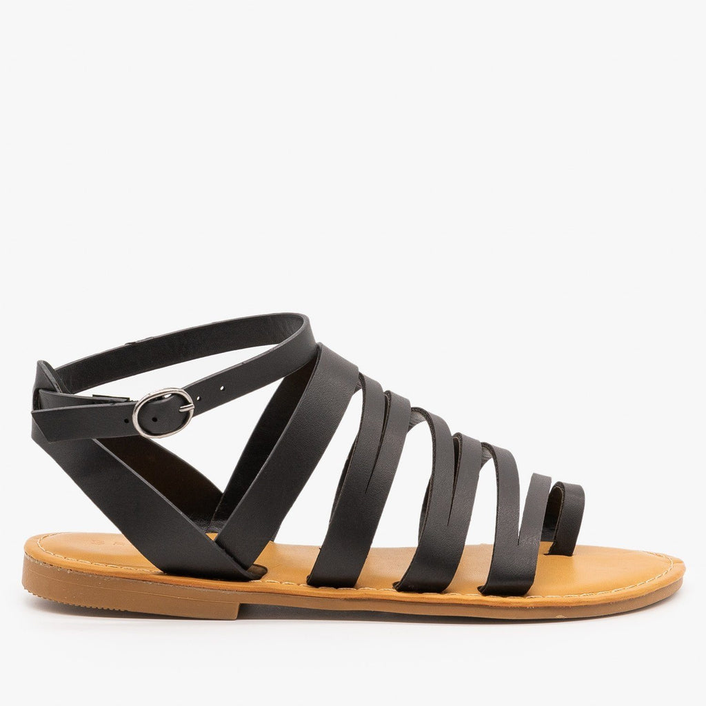 Womens Strappy Zig Zag Sandals - Bamboo Shoes - Black / 5