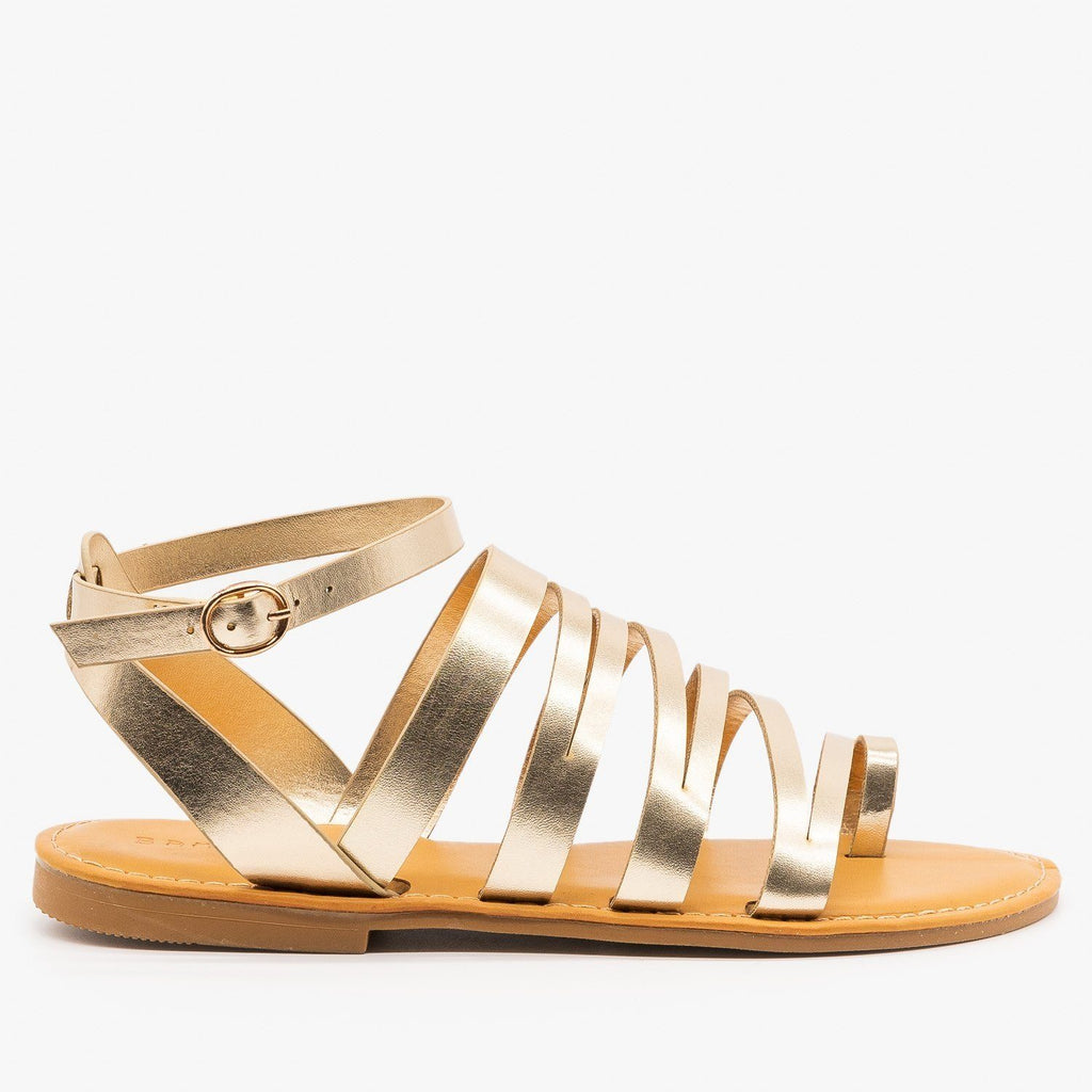 Womens Strappy Zig Zag Sandals - Bamboo Shoes - Gold / 5