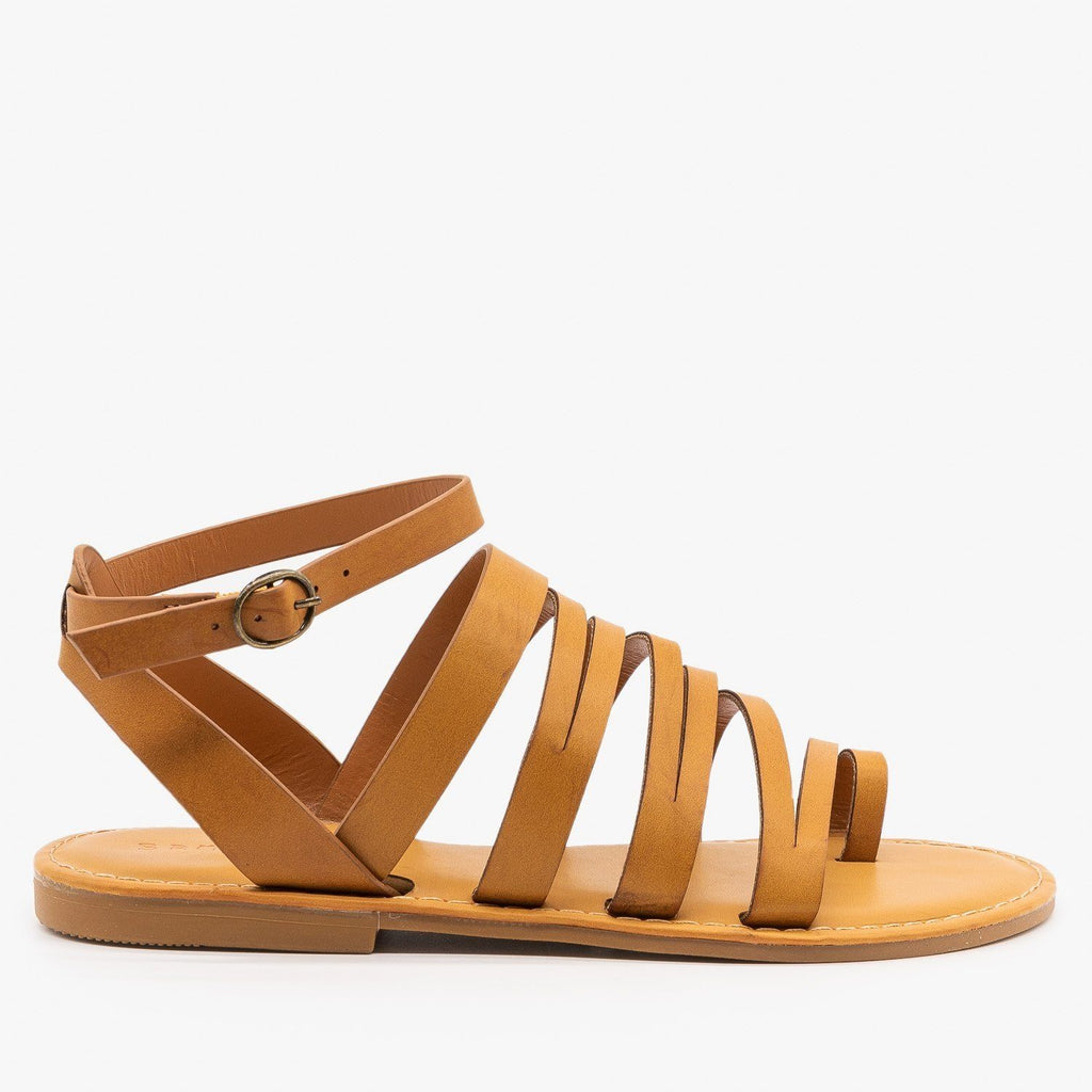 Womens Strappy Zig Zag Sandals - Bamboo Shoes - Tan / 5