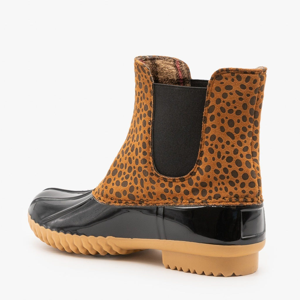 Womens Street Style Cheetah Print Duck Boots - Nature Breeze