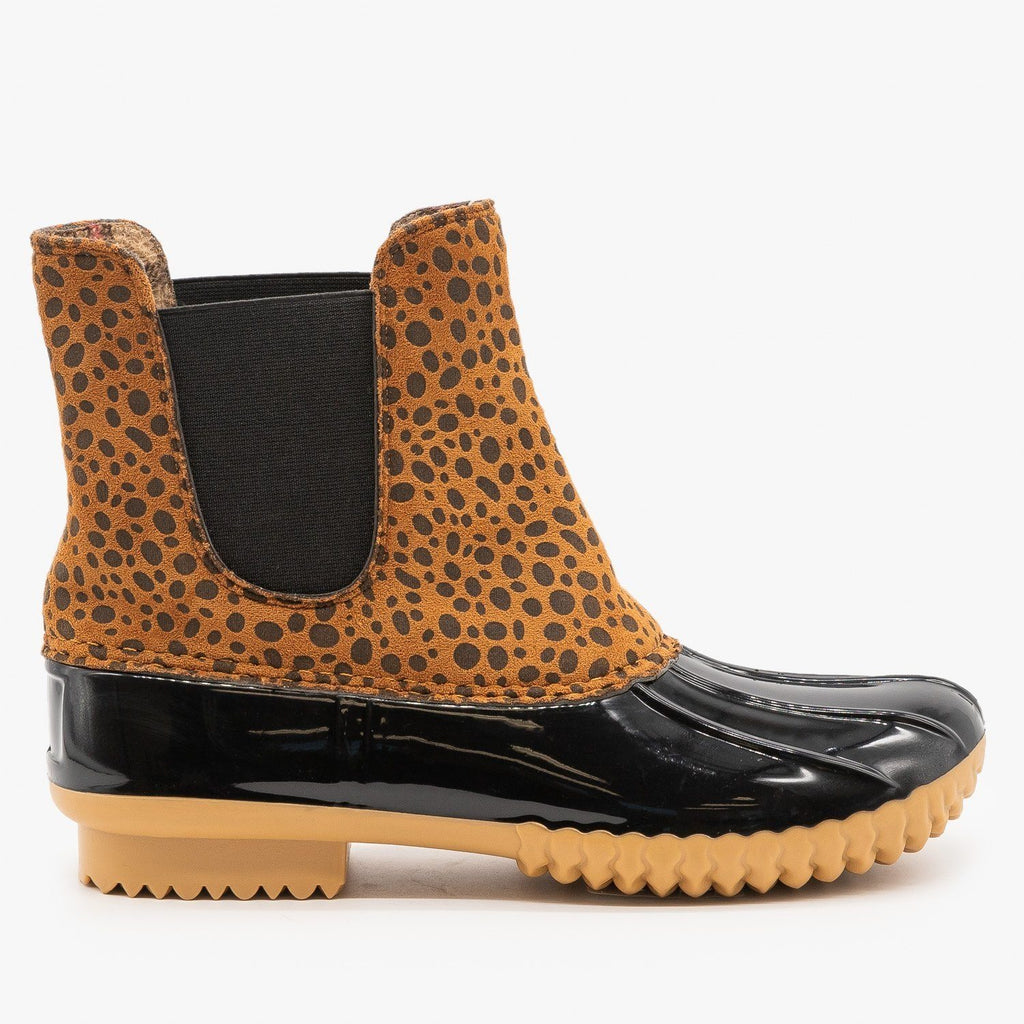 Womens Street Style Cheetah Print Duck Boots - Nature Breeze - Cheetah / 5