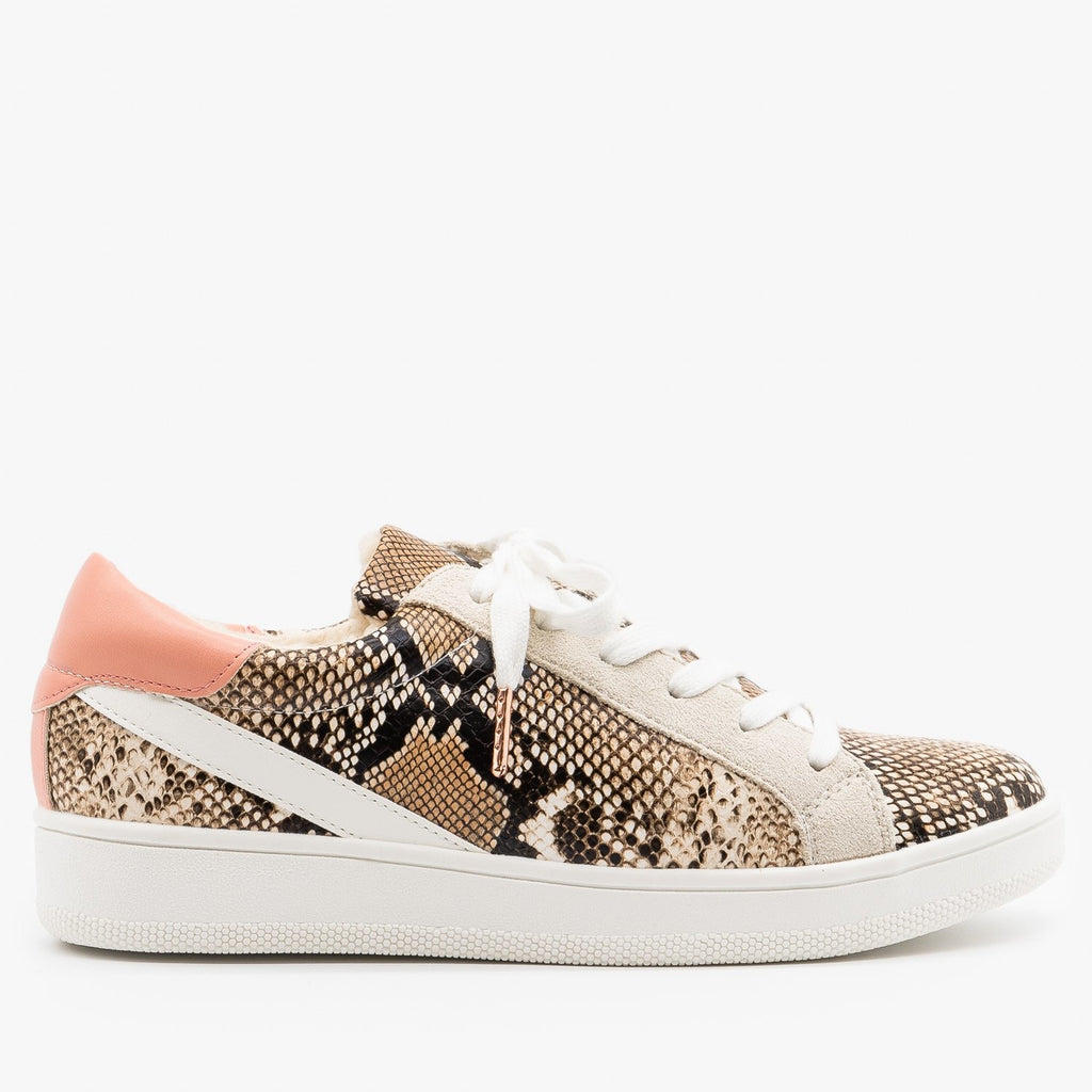 Womens Street Style Faux Sherpa Lined Sneakers - Nature Breeze - Snake / 5